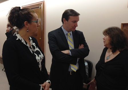 Irene Jadge and Janice Stauffer with Sen. Murphy