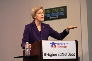 Warren at Higher Ed, Not Debt launch
